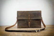Rustic distressed leather crossbody bag for men full grain leather messenger bag