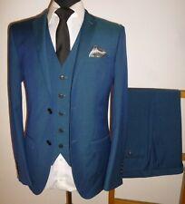 Moss Londres Traje de 3 piezas 38R Slim Fit Chaqueta Azul Chaleco Pantalones W 32 L 30