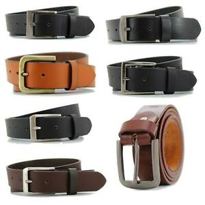 """Lucini Men's Real Leather Belts 100% Genuine Black Brown Tan 32"""" to 46"""" Waist"""