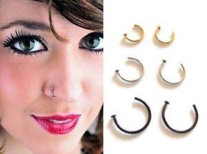 Men's Women Open Titanium Nose Ring Hoop Lip Stud Tragus Cartilage Helix Eyebrow