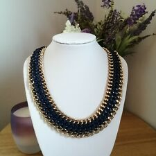 Statement Retro Blue Gold Tone Braided Chain Collar Necklace Ethnic Bohemian