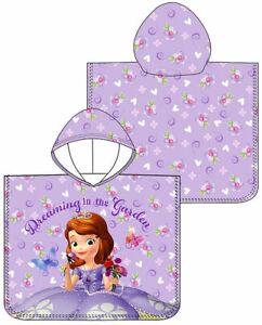 Girls Disney Princess Sofia Cotton Poncho Kids Hooded Beach Bath Towel ONE SIZE