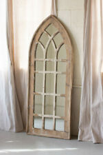 Distressed Rustic Tall Wooden Church Arched Window Frame Accent Wall Mirror