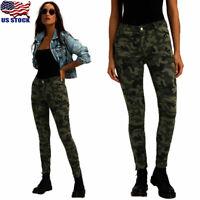 Womens Camo High Waist Skinny Stretch Denim Pants Slim Jeans Camouflage Trousers
