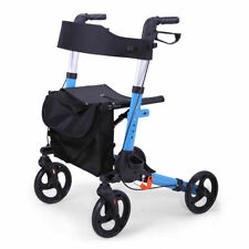 Foldable Light Weight Rollator Rolling Walker With Medical Curved Back Soft Seat