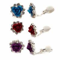 Silver Rose Crystal Clip On Earrings Stud Earrings Childrens Girls Womens Bridal