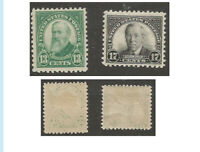 US, 1925 Commemoratives, 622 Harrison & 623 Wilson, Mint, OG, HR, VF, Fresh