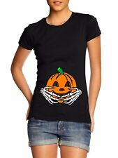 Halloween Maternity T Shirt Womens Pumpkin Baby Skeleton Hands Funny Costume Top