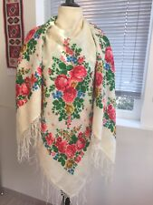 Vintage Never Used Shawl Ussr Era Pure Wool Ukrainian Or Russian