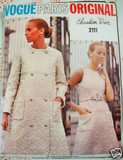 Vintage 60's VOGUE PARIS ORIGINAL DIOR 2111 DRESS COAT Day Evening Sew Pattern