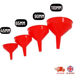 4 PC new Funnel Set Plastic Pouring Funnels 45 65 90 110 mm Kitchen Petrol Fuel