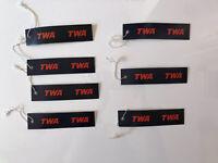 Vintage TWA Trans World Airlines Unused Luggage Tags elastic strings