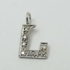 "14K White Gold Pavé Diamond Block Letter Initial ""L"" Charm Pendant"
