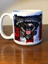 Large USS Midway Patriotic Mug United States Flag Freedom Independence Day