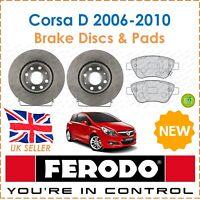 For Corsa D 1.2 1.4 2006-2010 FERODO Two Front Brake Discs + Brake Pads Set New