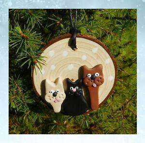 1 x Cat Wood Christmas tree Decoration, Xmas, Gift Handmade, Cats, Cute, NEW