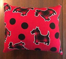 """Beautiful Handmade Fleece Scotty Dogs Accent - Throw Pillow  10"""" x 9"""""""