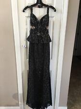 Bcbg Black Lace Peplum Cut Out Halter Evening Gown Size 0