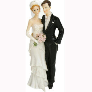 Wedding Cake Decoration Figurines Pair Bride With Veil Large 8 5/16in