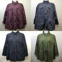 Woman Within 2X Shirt Top Blouse Green Purple Black Gray Pockets Jacket 26 28