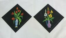Pr Vtg Paint By Number Palmer Pann Floral Group Tulips Lilies Floral Black Magic