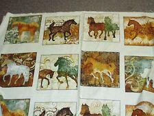 Unbridled horse blocks panel Quilting Treasures fabric