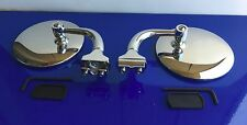 "4"" STAINLESS PAIR UNIVERSAL PEEP MIRRORS DOOR EDGE CHROME DRIP RAIL HDWR INCLUD"