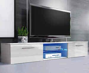 "High Gloss TV Unit Cabinet Stand 120cm For Tvs upto 75"" Matt Body With Led Light"