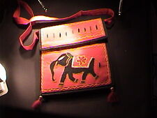 """red elephant purse with 2 compartments 9"""" shoulder bag"""