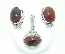 MAHOGANY OBSIDIAN PENDANT AND EARRINGS SET SOLID.925 STERLING SILVER 26.0 g