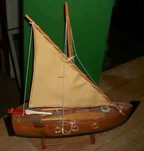 """ANTIQUE VINTAGE 40s-50s HANDMADE WOOD SAILING SHIP  ON STAND 4"""" X 15"""" L  X 16"""" T"""