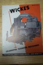Vtg Wickes Machine TooL Brochure~40 66 74 Crankpin Turning Lathe~Saginaw Mi