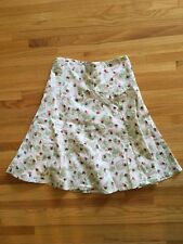 Elevenses Cream/Green/Pink Floral A-line Skirt, Size 6