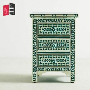 Bone Inlay Floral Design 3 Drawers Bedside Table Teal Green (MADE TO ORDER