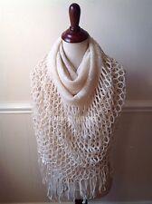 Women's Fringe Knit Fishnet Infinity Scarf 2 Loop Solid Cowl Shawl