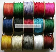 5mm BARLEY TWIST POLYESTER CORD ROPE  ( CHOICE OF LENGTH & 20 COLOURS )