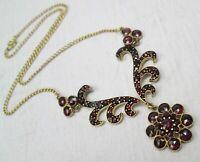 Fine Antique Gold Plated & Bohemian Garnet Lavaliere Necklace