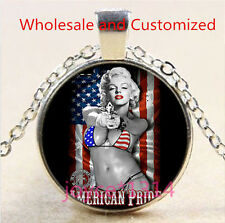 Marilyn Monroe Cabochon Tibetan silver Glass Chain Pendant Necklace #4582