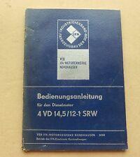 Bedienungsanweisung  Dieselmotor VEB 4 VD 14,5/12-1 SRW
