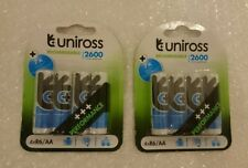 Uniross AA 2600 mAh 8 x Rechargeable Batteries NiMH - HR6, LR6, DC1500, MN1500