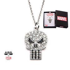 Pendentif Punisher en acier et zirconias pour femme Punisher women's necklace