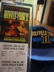 Mike Tyson vs Evander Holyfield II 1997 ticket stub with case and event  hat.