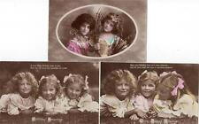 13 Children colour tinted RP unused old postcards Good condition