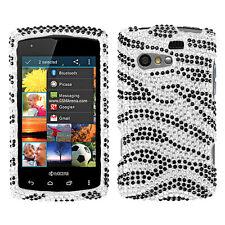 For Kyocera Rise C5155 Crystal Diamond BLING Hard Case Phone Cover Zebra