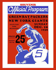 1939 NFL CHAMPIONSHIP GAME POSTER (Packers vs Giants) of Game Program, 8x10Photo
