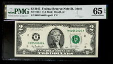 GEM 2013 $1 FRN SUPER FANCY SER# 00550000 - PMG #65EPQ GEM UNCIRCULATED
