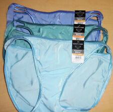 3 Vanity Fair String Bikini Panty Nylon Illumination 7 L Large 18108 Blue NWT