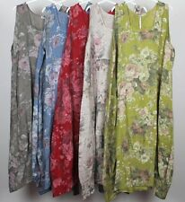 New Plus Size Ladies Floral Italian Lagenlook Long Boho Pocket Linen Tunic Dress