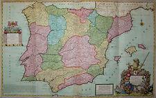 Spanien und Portugal von Herman Moll - Große, seltene Karte - Spain 1720 - Rare
