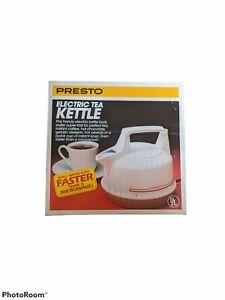 BRAND NEW 1989 Vintage Presto Electric Tea Kettle 20-988 White Red